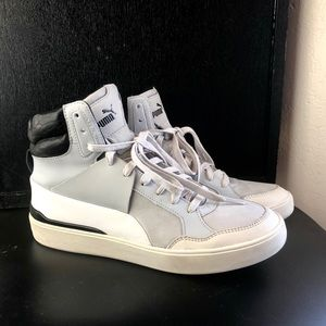 Alexander McQueen Puma white leather hi to- great